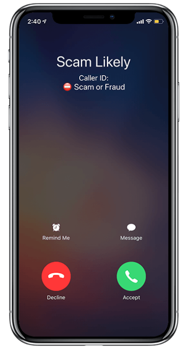 iphone with an incoming phone call that says scam likely