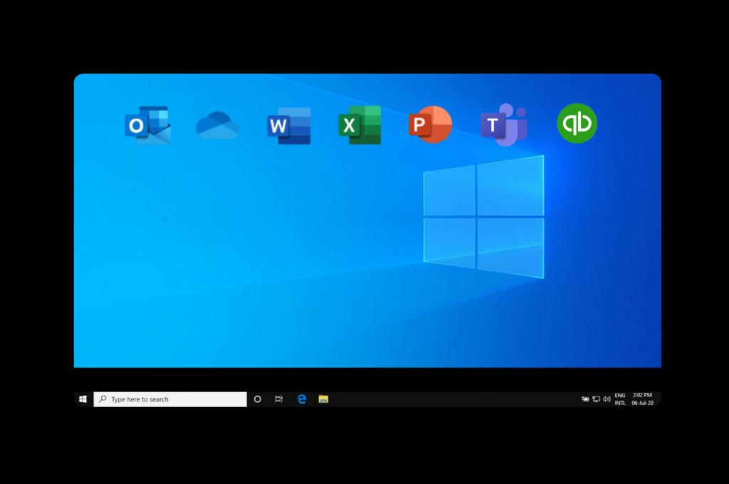 Illustration describing a traditional Windows desktop