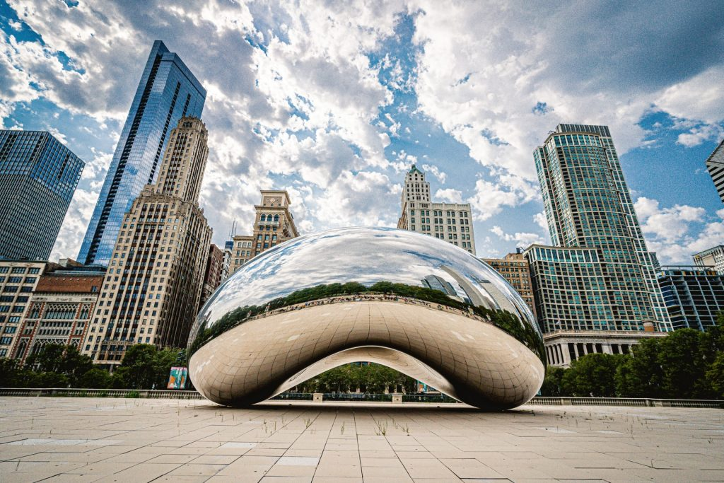 Illustrative image of the Bean in Chicago and Chicago skyline